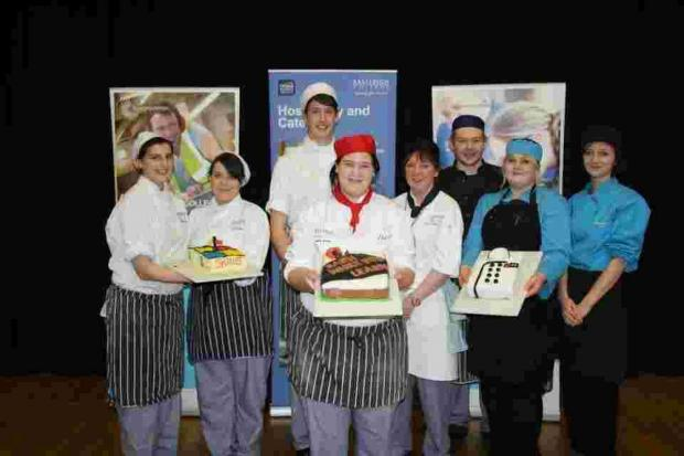 One group of Level 2 Catering Apprentices battled it out against two teams of Level 1 Catering Students in a heated competition of technical cake decorating based on the theme 'apprenticeships'