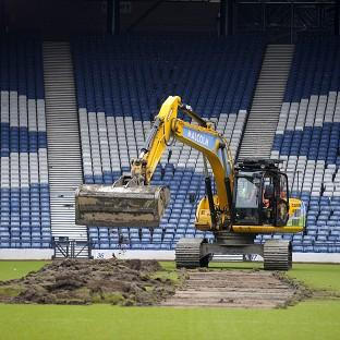 Andover Advertiser: Turf was dug up at Hampden Park to prepare the stadium for the 2014 Commonwealth Games