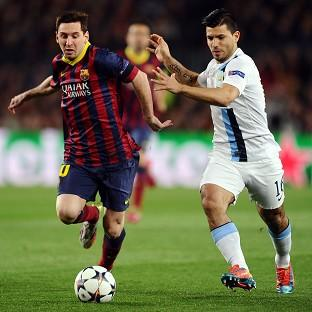 Lionel Messi, left, was on target as Barcelona beat Manchester City