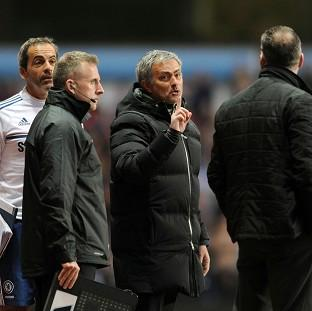 Jose Mourinho, centre, was sent to the stands in the dying stages