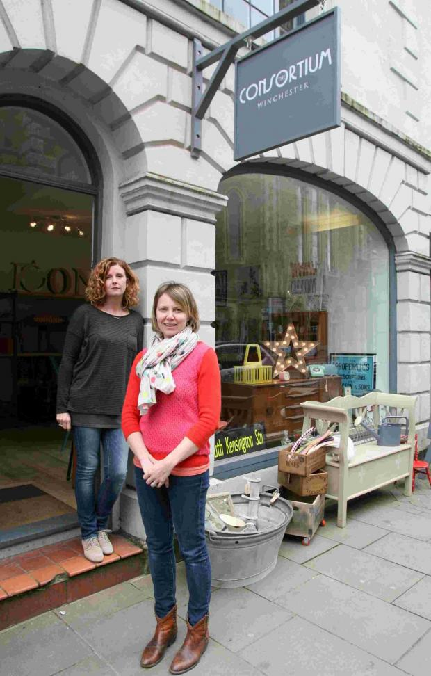 Andover Advertiser: Caroline Hawes and Mary Robinson outside the new shop on Jewry Street