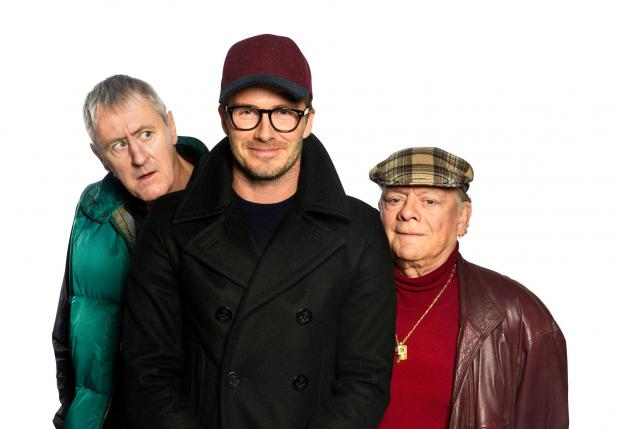 David Beckham (centre) will appear with Sir David Jason and Nicholas Lyndhurst in a special Only Fools and Horses sketch