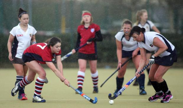 Action from the Ladies II game at John Hanson on Saturday