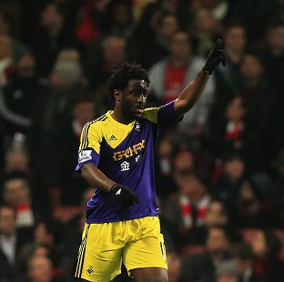 Swansea City's Wilfried Bony celebrates scoring the opening goal