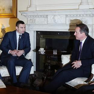 Andover Advertiser: Ukrainian MP Vitaly Klitschko speaks with Prime Minister David Cameron at 10 Downing Street