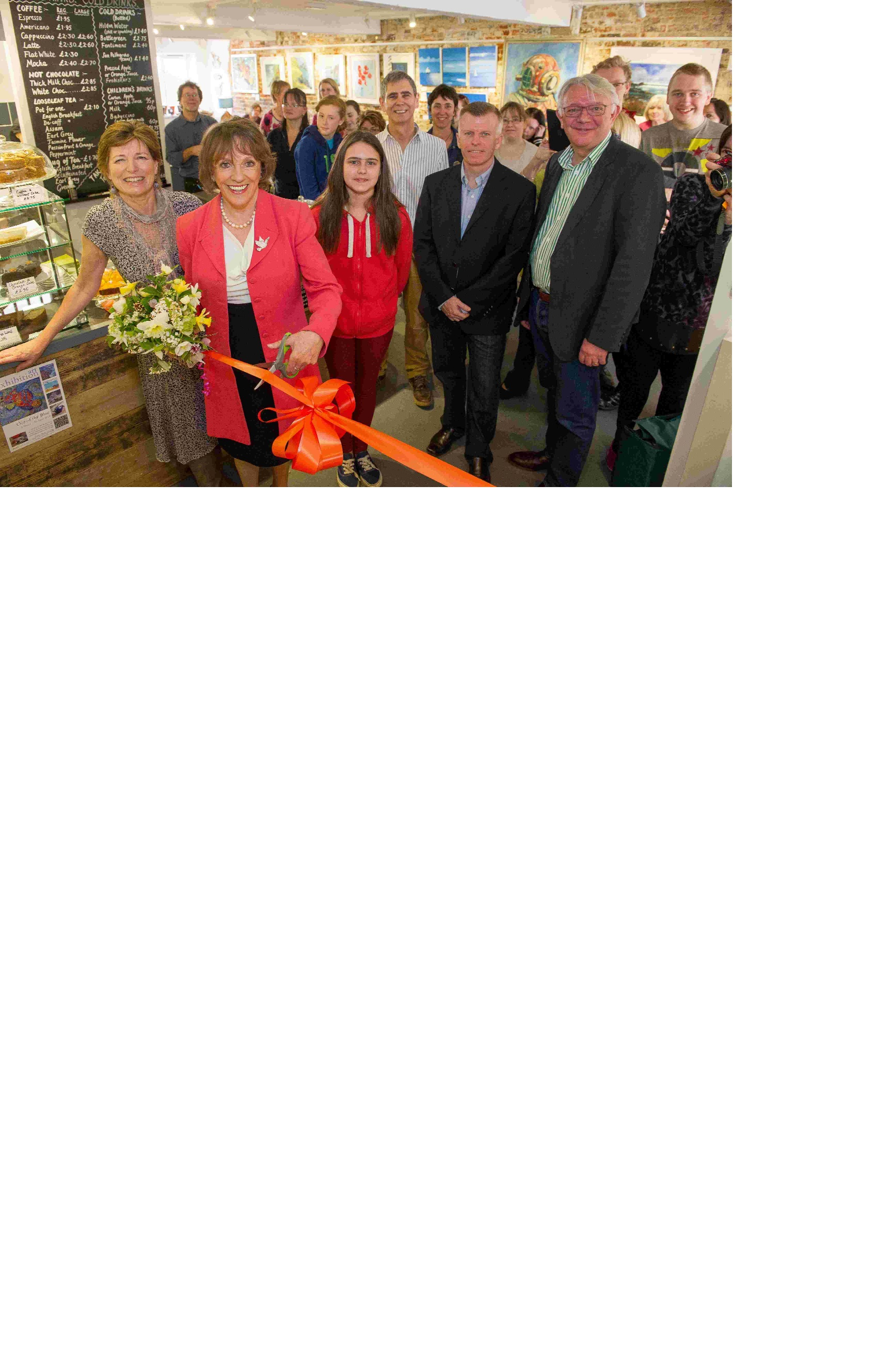 Esther Rantzen opens the new art studio, cafe and meeting rom at Rum's Eg in Romsey