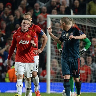 Wayne Rooney, left, may miss Wednesday's return leg against Bayern