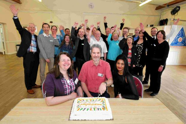 Andover Advertiser: L-R: Nikki Wild, Richard Thayer and Elaine Gray celebrate the M3 Job Club's move to Carnival Hall