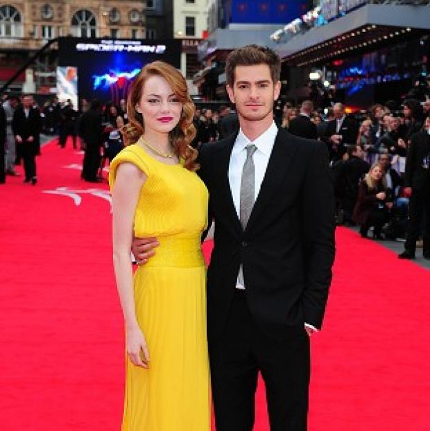 Andover Advertiser: Emma Stone and Andrew Garfield arriving for the world premiere of The Amazing Spider-Man 2