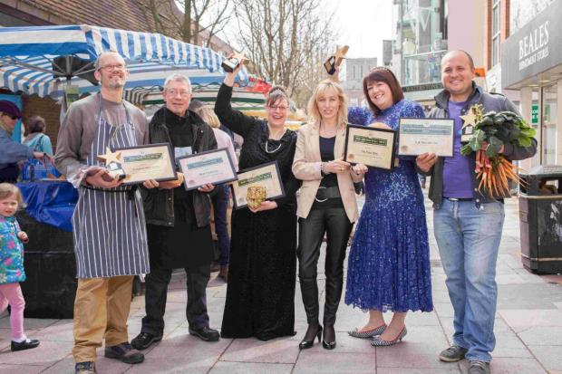 Left to right: Dagan James of Broughton Water Buffalo, Steve Lines of Mud Pies, Hayley Dunn of The Flour Stall, Alex Handford Business  Manager for Hampshire Farmers' Markets, Jo Burch of The Flour Stall and  Vladimir Mirov of F.A. Secrett's