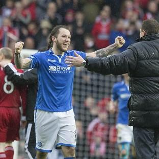 Stevie May, left, celebrates with manager Tommy Wright after the final whistle