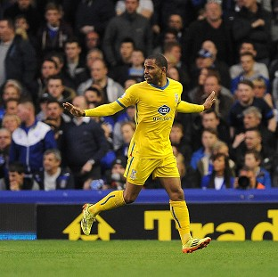 Jason Puncheon celebrates opening the scoring