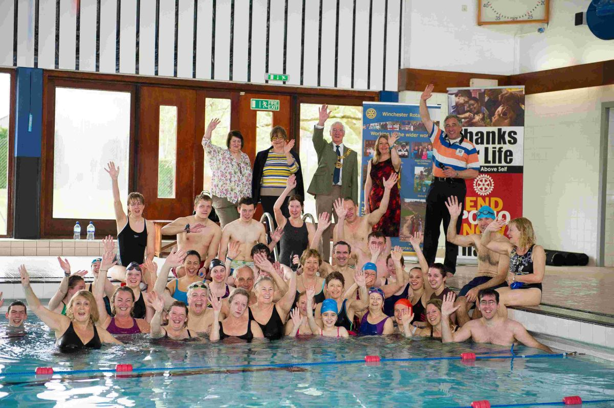 Sixteen teams gathered for this year's Winchester Rotary swimathon at Winchester College sports club on Saturday (April 12)