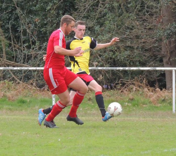 Andover Advertiser: Ryan Steele in action against Hamble Club on Saturday