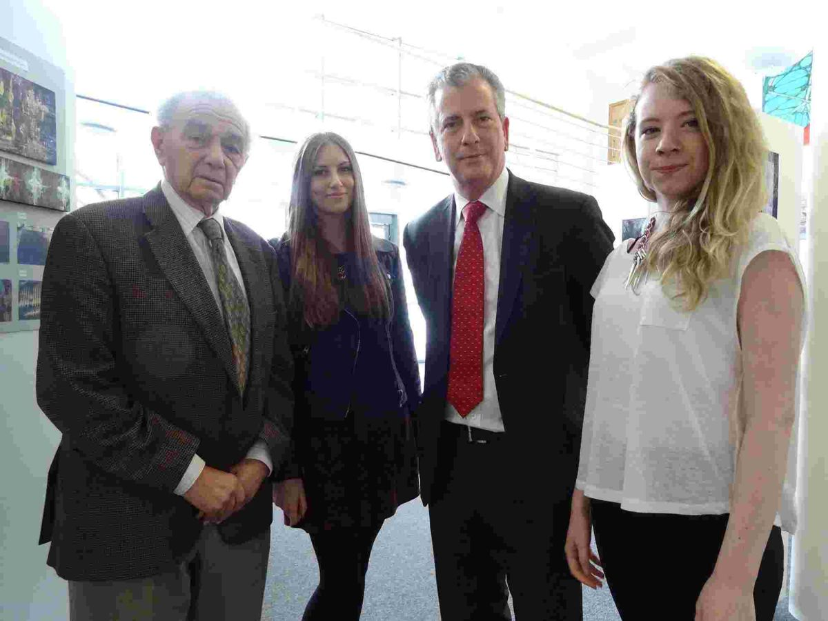 L to R: Walter Kammerling, Jade Bone, Mike Thornton, Jess Asbury. Jade and Jess are Holocaust Educational Trust Next Step ambassadors.