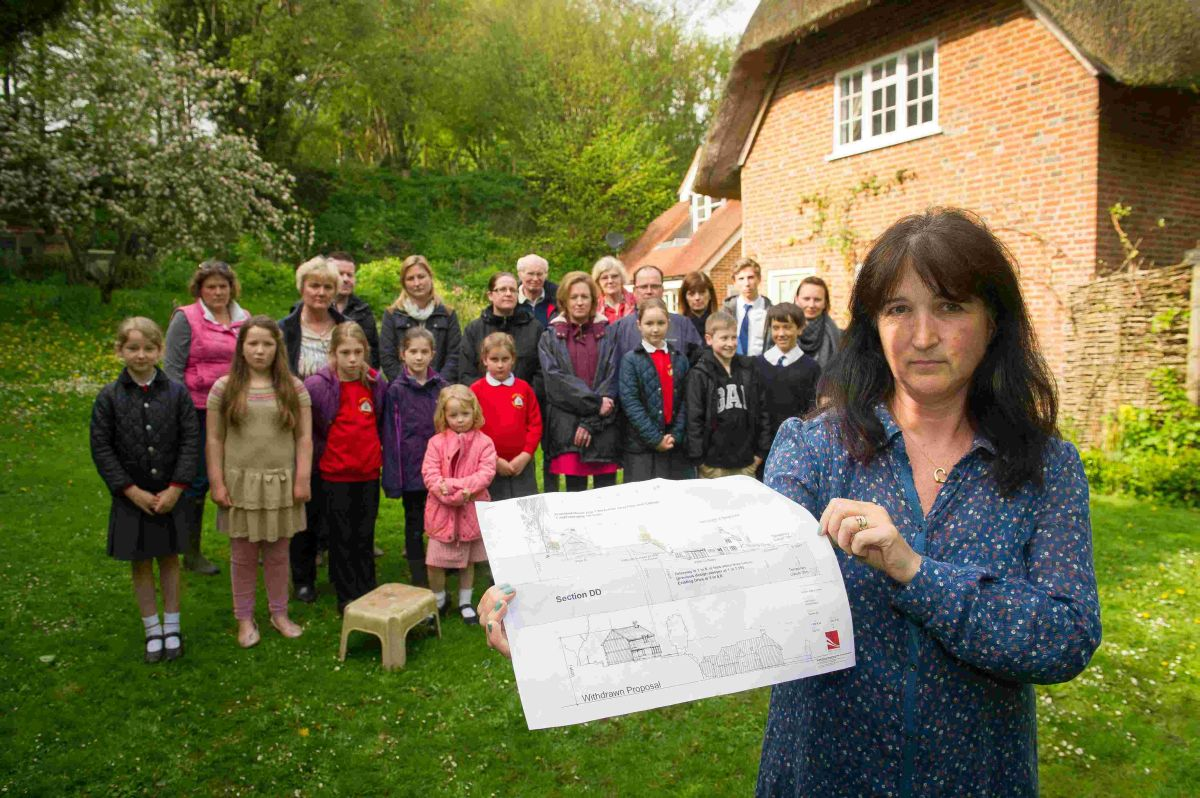 Jo O'Connor with other residents of Itchen Abbas who are worried about the development.