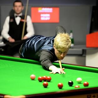 Neil Robertson, right, is locked in an enthralling semi-final tussle with Mark Selby