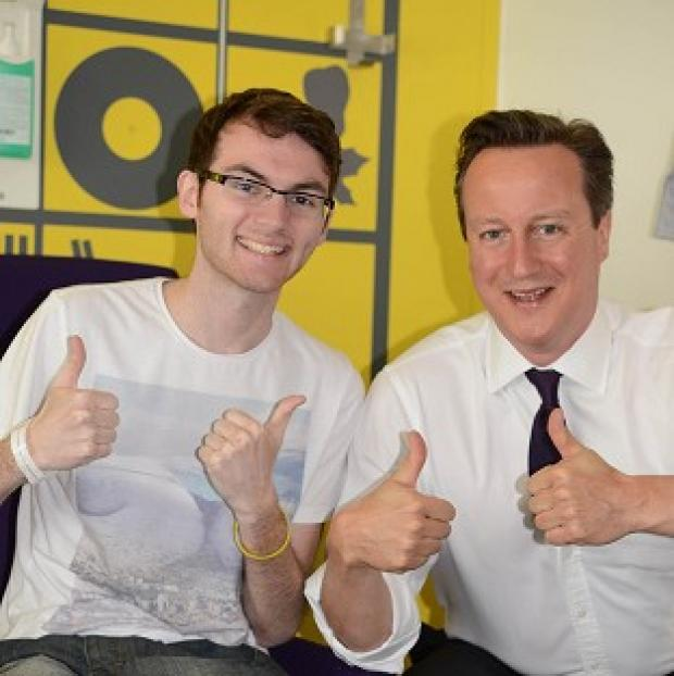 Andover Advertiser: Teenage cancer patient Stephen Sutton was visited by Prime Minister David Cameron