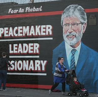 A mural of Sinn Fein leader Gerry Adams in Belfast