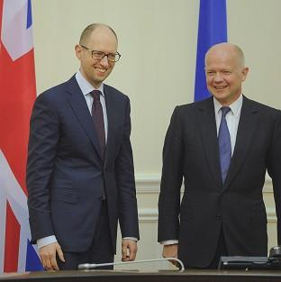 Ukrainian prime minister Arseniy Yatsenyuk and UK Foreign Secretary William Hague during their meeting in Kiev, Ukraine (AP)