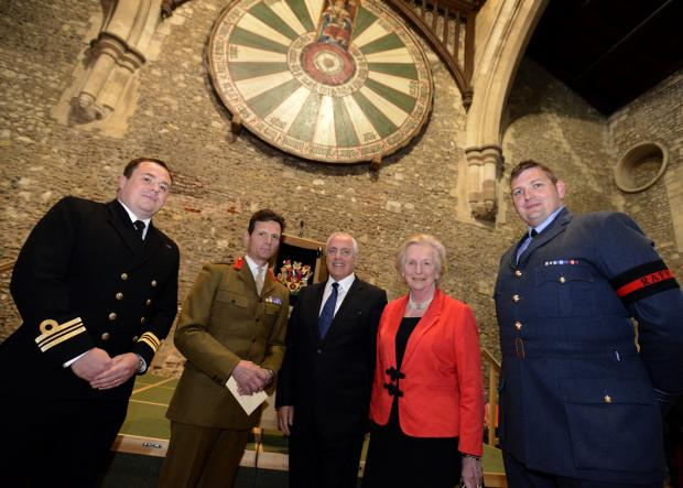 Commander Adam Robertson, Colonel Charles Lambert with Cllr Roy Perry, Dame Mary Fagan and Squadron Leader Martyn Doney