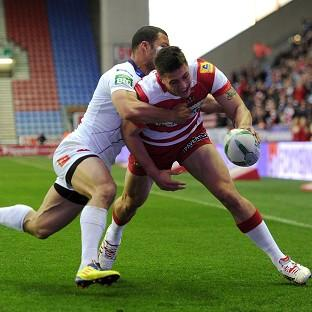 Anthony Gelling, right, scored two tries for Wigan