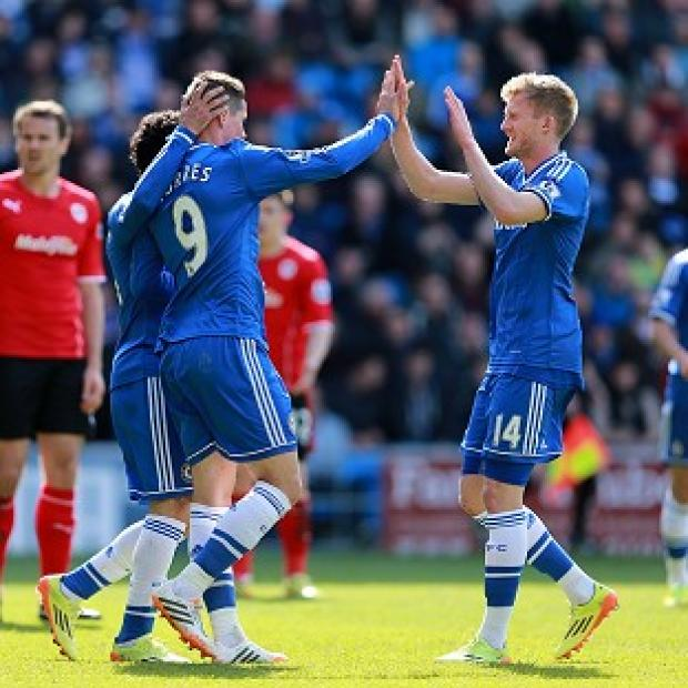 Andover Advertiser: Chelsea's Fernando Torres, left, scored his first Premier League goal since January