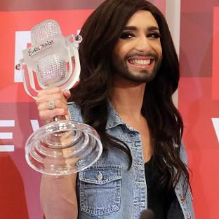 The Austrian winner is a drag act whose real name is Tom Neuwirth (AP)