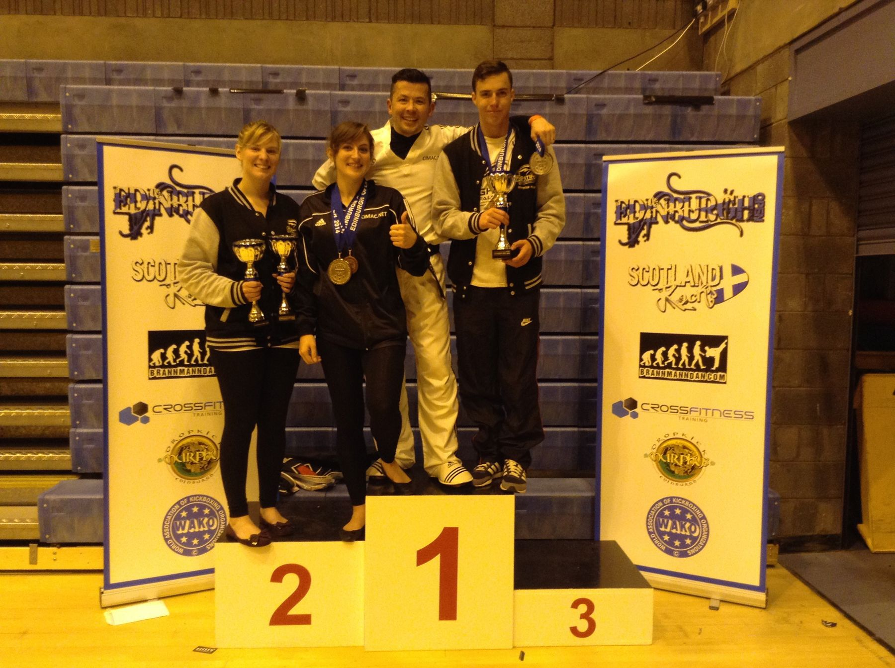The four Fighting Falcons with their trophies at the Edinburgh Open