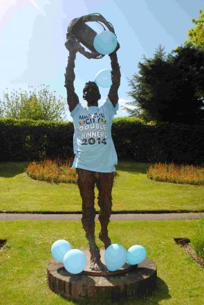 Millennium man celebrates Manchester City's Premier League win