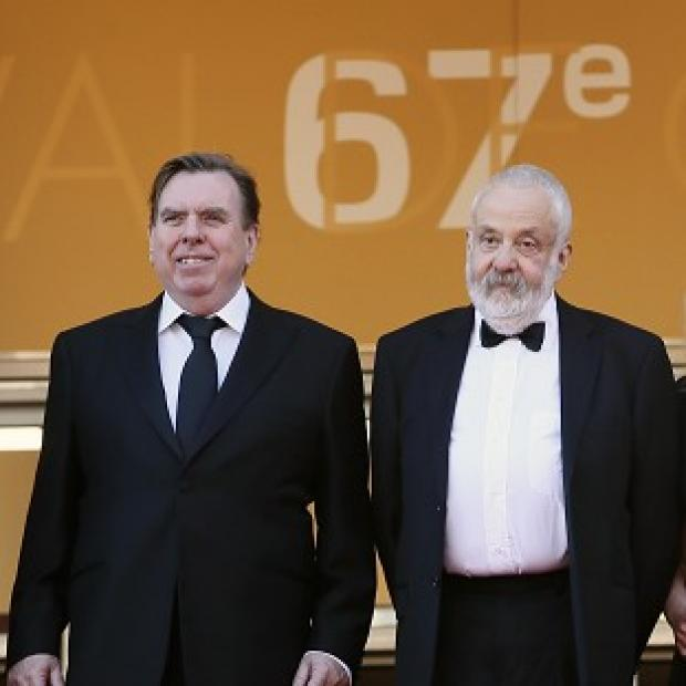 Andover Advertiser: Actor Timothy Spall and director Mike Leigh arrive for the screening of Mr Turner at the Cannes film festival (AP)