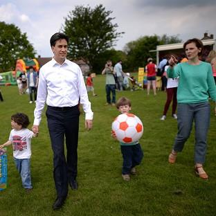 Labour leader Ed Miliband and his wife Justine with their children Sam and Daniel in Crawley, where earlier he had been campaigning