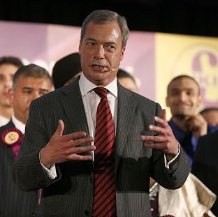 Nigel Farage speaking at a Ukip rally - his party is out front among those sure to vote this week
