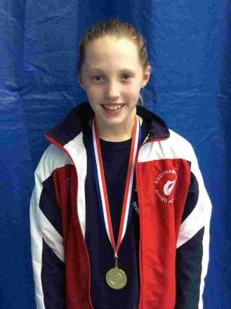 Evie Johnson, 11, was crowned South East Regional Skills diving champion