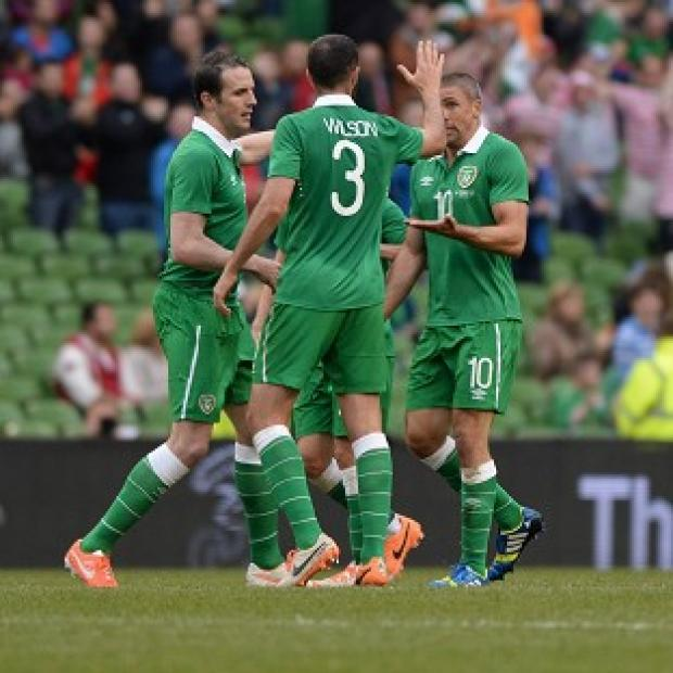 Andover Advertiser: Jon Walters, right, scored for Ireland but they fell to a loss against Turkey