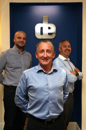 From left, operations director John Williams, MD Matt Smith and sales director Alex Overy, of D&E Office Solutions, Shirley.