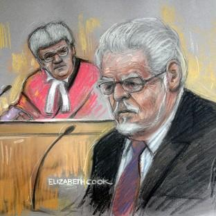 Andover Advertiser: Court artist drawing by Elizabeth Cook of Rolf Harris in the dock at Southwark Crown Court. (Elizabeth Cook/PA)