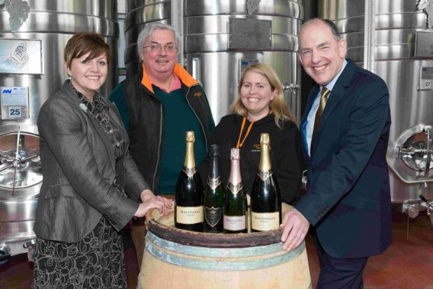 Andover Advertiser: (From left to right: Tracy Nash, Commercial Manager, Hampshire Fare, Simon Robinson, Chairman, Hattingley Valley, Emma Rice, Winemaker, Hattingley Valley, and Mike Wright, Chairman, Hampshire Fare)