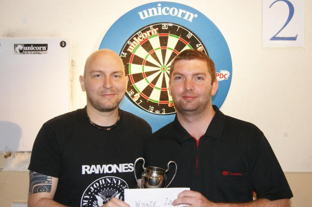 Winner Lee Evans, right, with Andrew Stimpson from the Wolversdene Club