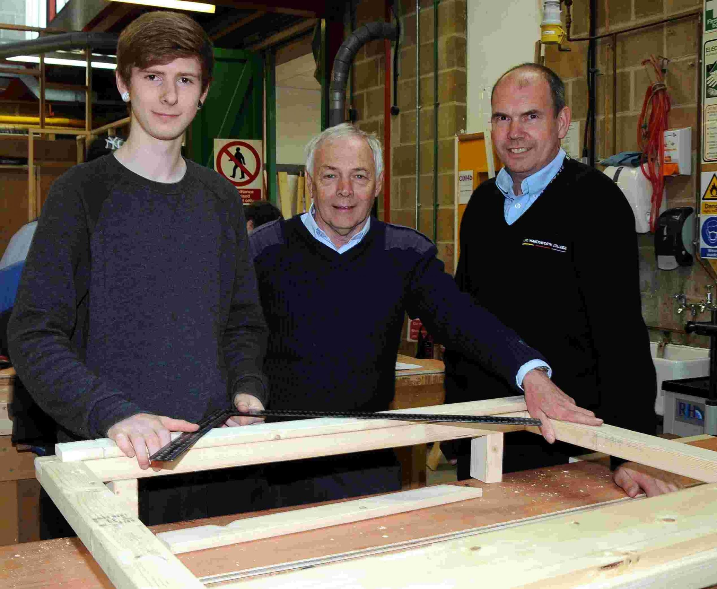 L-R: BCoT student Tom Armstrong, with malcolm Monckton and Steve White from Lord Wansdworth College