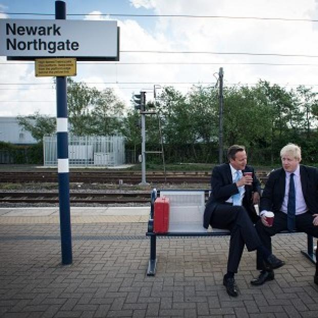 Andover Advertiser: Prime Minister David Cameron and Mayor of London Boris Johnson at Newark railway station following a campaign visit to the town