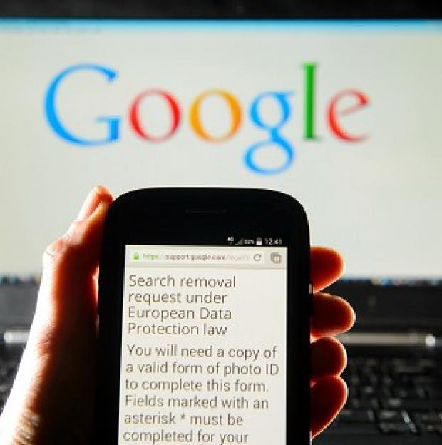 Andover Advertiser: A Google search removal request displayed on the screen of a smart phone