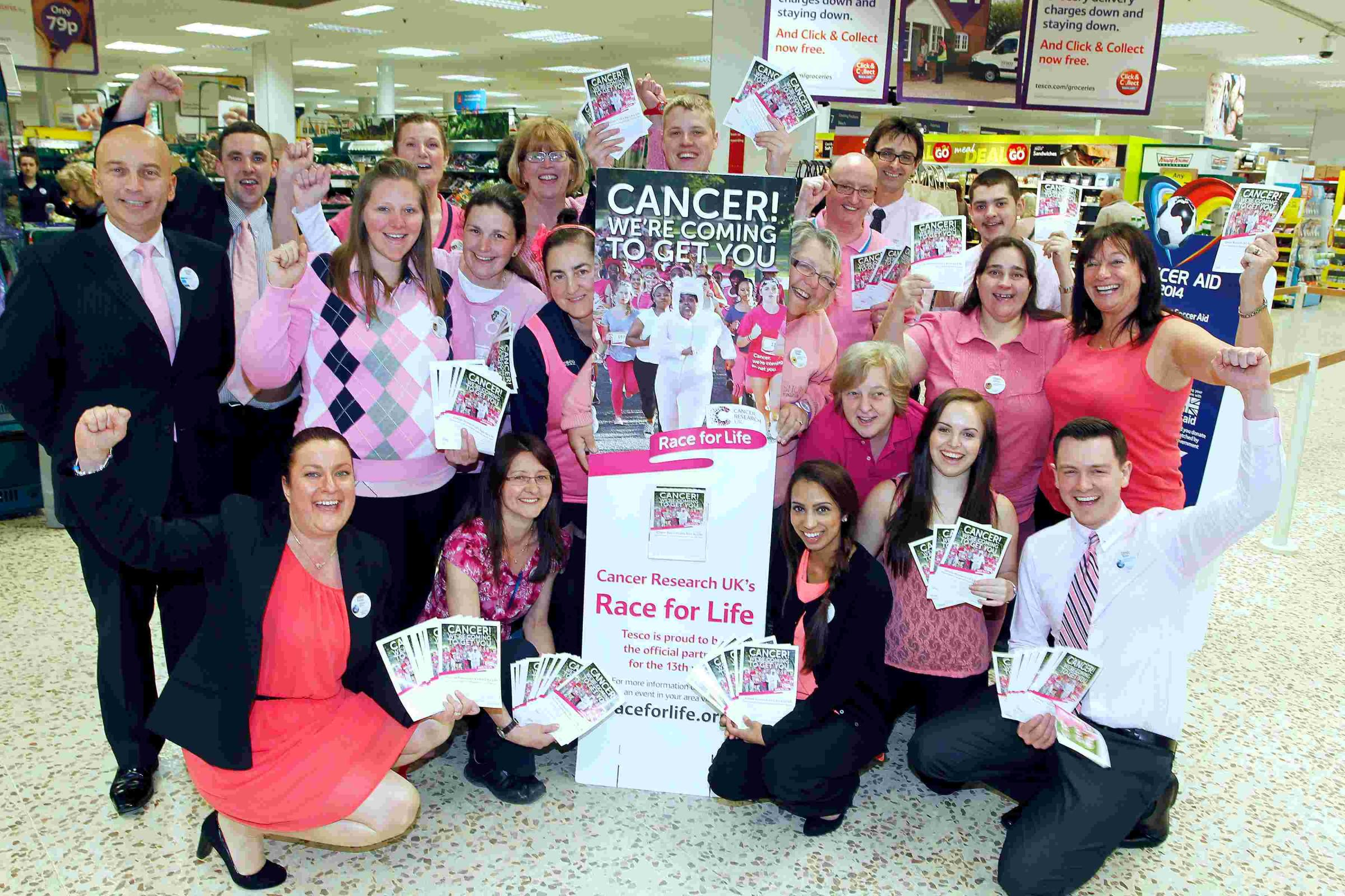 Staff at Tesco, in Chineham, held a pink day to promote this year's Race for Life