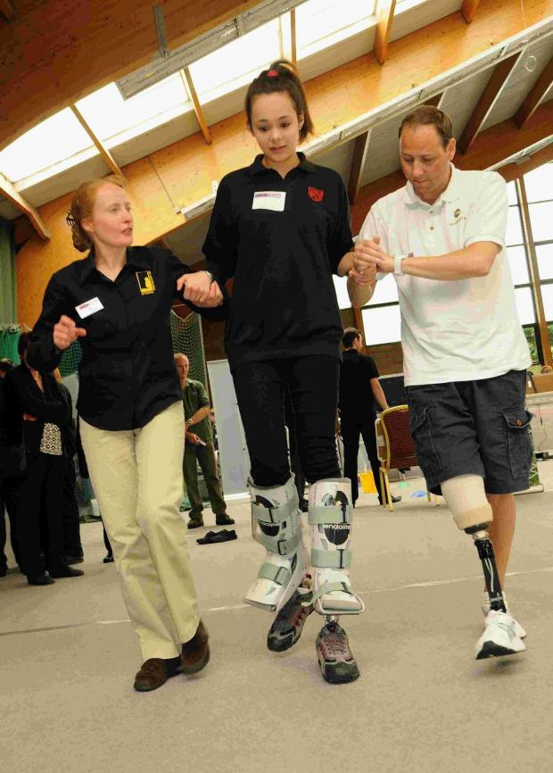 Andover Advertiser: Jo Gates and Bill Lowe from Blatchford, teach Daniela Pomroy, from The Hurst Community College, about prosthetic limbs in 2013