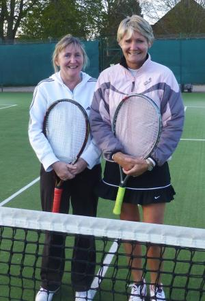 Andover Ladies Andrea McMillan (left with Jennie Pope) was in action against Overton