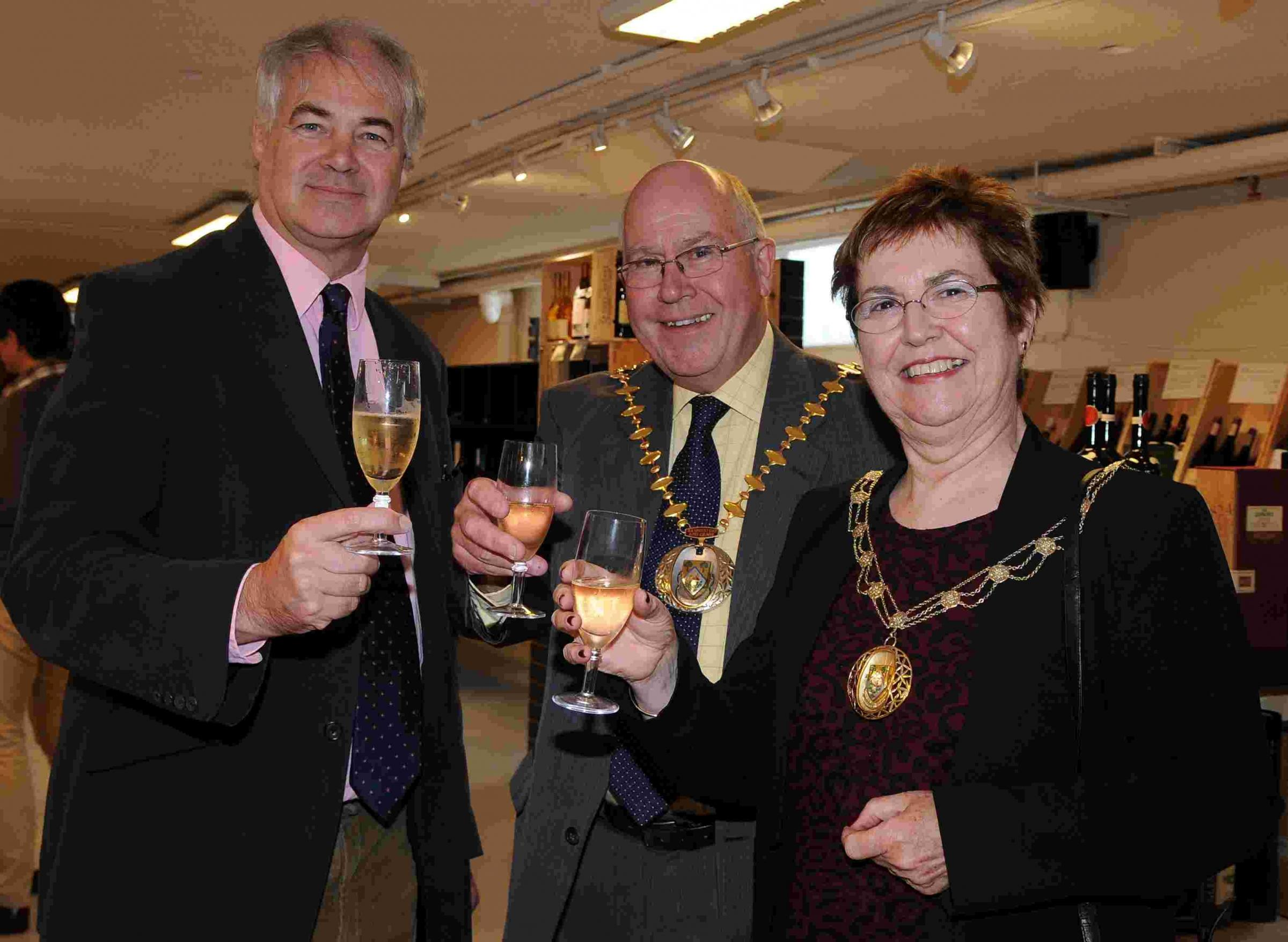 Berry Bros & Rudd chairman Simon Berry, with the Basingstoke and Deane Mayor and Mayoress, Cllr Roger Gardiner and Tricia Gardiner