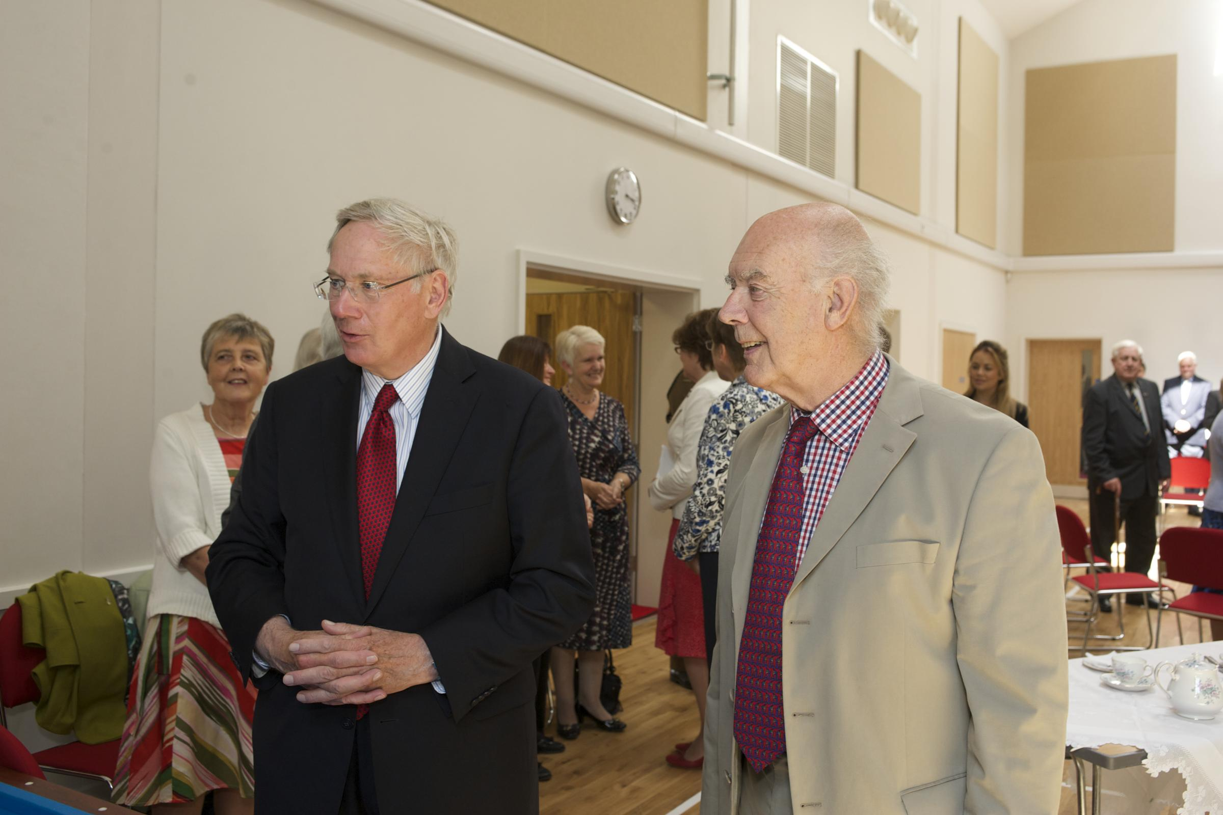 The Duke of Gloucester is shown around the new centre by the memorial trust's chairman, Sid Roberts