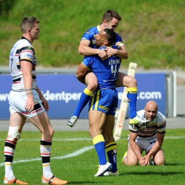 Andover Advertiser: Ryan Atkins celebrates with Richie Myler after scoring a try