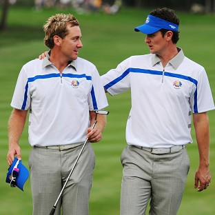 Ian Poulter, left, does not expect any favours from Justin Rose, right