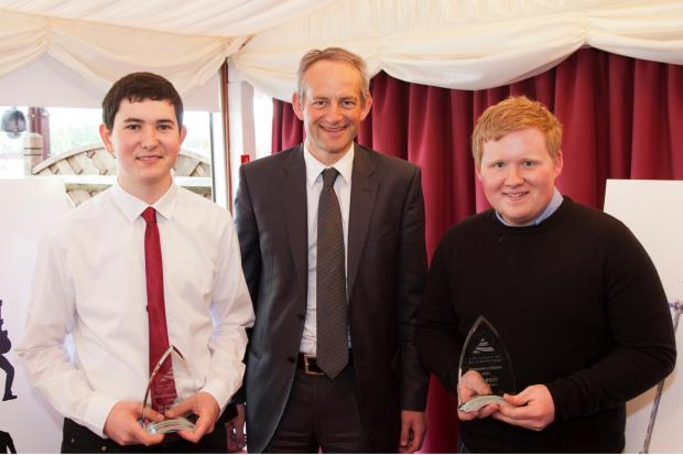 Andover Advertiser: George Maybey, right, with ALFED president Simon MacVicker, centre, and runner-up Ben Hunt